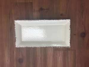 Tray, White Antiqued – 14″x 7 1/2″