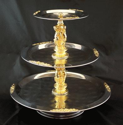 Stainless, W/Gold, 3 Tier