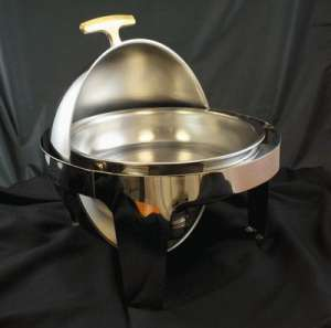 Stainless, Round Top, Gold Handle, 6 Qt