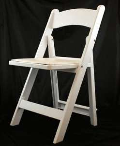 Garden, White Resin Chair, Padded Seat
