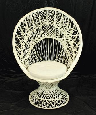 Chair, White Wicker,