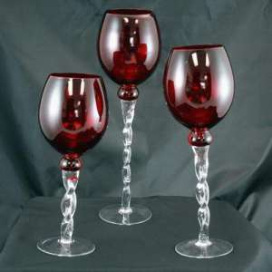 Glass Candle Holder, Red 13.7″