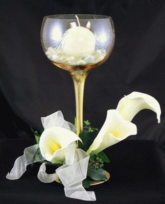 Glass Candle Holder, Gold