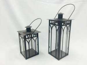 Lantern, Black, Lattice Metal & Glass, Small