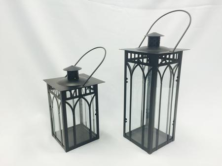 Lantern, Black, Lattice Metal & Glass, Large