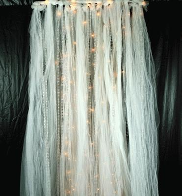 Beaded, Tulle, Lighted Curtain