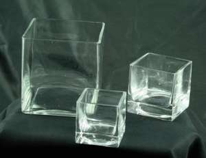 Square Vase, 6″ Clear