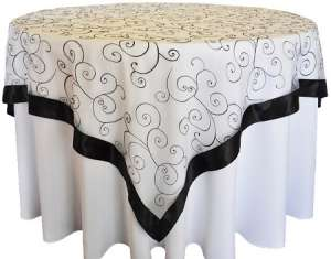 Black/White 85″ x 85″ Embroidered Organza Overlay