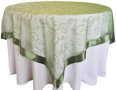 Clover 85″ x 85″ Embroidered Organza Overlay
