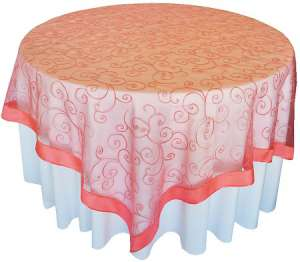 Coral 85″ x 85″ Embroidered Organza Overlay