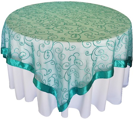 Jade 85″ x 85″ Embroidered Organza Overlay