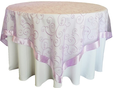 Lavender 85″ x 85″ Embroidered Organza Overlay
