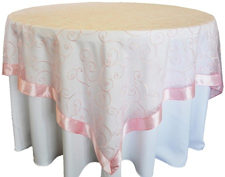 Pink 85″ x 85″ Embroidered Organza Overlay