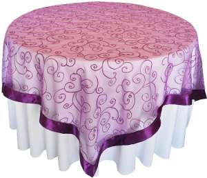 Purple 85″ x 85″ Embroidered Organza Overlay