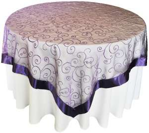 Regency 85″ x 85″ Embroidered Organza Overlay