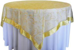Canary 85″ x 85″ Embroidered Organza Overlay