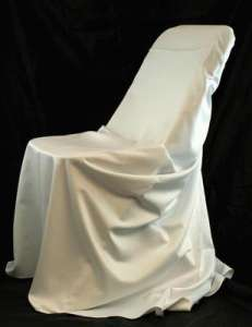 White, Satin Self Tie Chair Cover