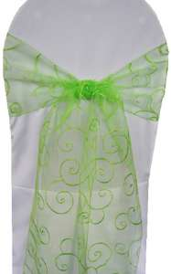 Apple Green Embroidered Organza Chair Sash