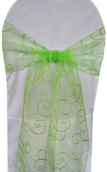 Apple Green Embroidered Organza Chair Sash