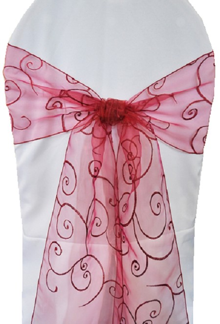 Apple Red Embroidered Organza Chair Sash