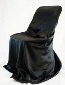 Black, Satin Self Tie Chair Cover