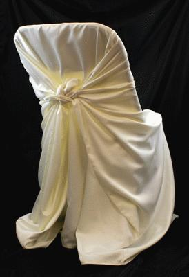Ivory, Satin Self Tie Chair Cover