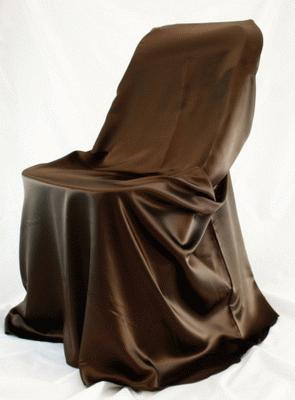 Chocolate, Satin Self Tie Chair Cover