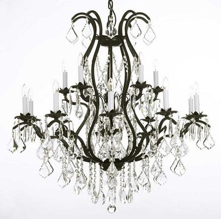 12 Light Wrought Iron Chandelier, Installed