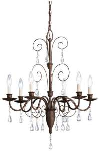 6 Light, Elegance Chandelier, Installed