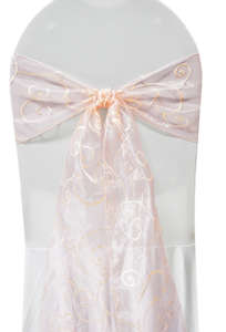 Blush Embroidered Organza Chair Sash