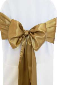Antique Gold Satin Chair Sash
