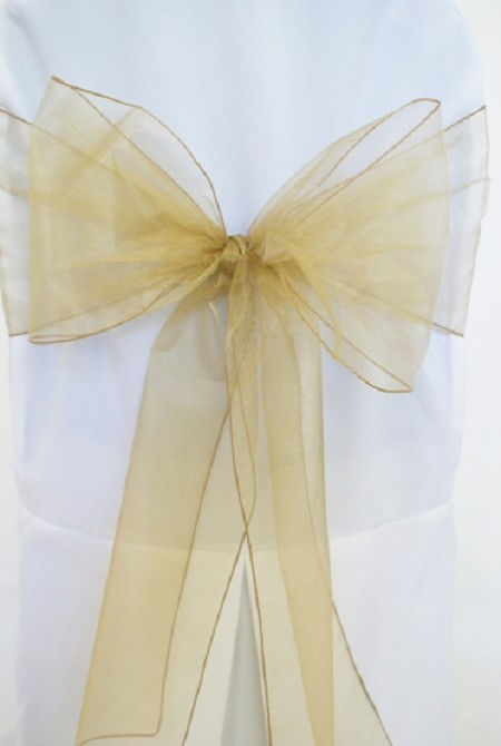 Antique Gold Organza Chair Sash