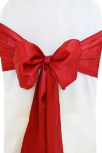 Apple Red Satin Chair Sash