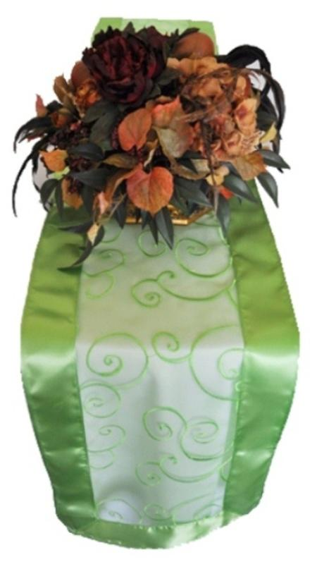 Apple Green Embroidered Organza Runner 12″ x 108″