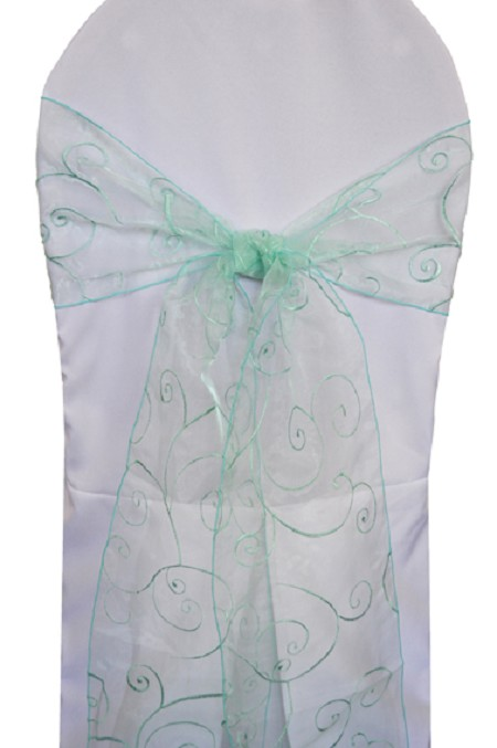 Aqua/Tiffany Blue Embroidered Organza Chair Sash