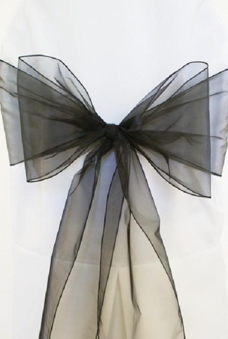 Black Organza Chair Sash