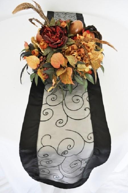 Black Embroidered Organza Runner 12″ x 108″