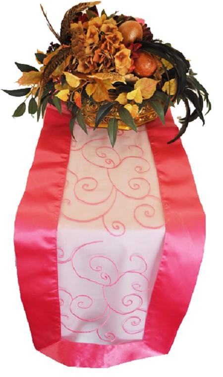 Bubblegum Embroidered Organza Runner 12″ x 108″