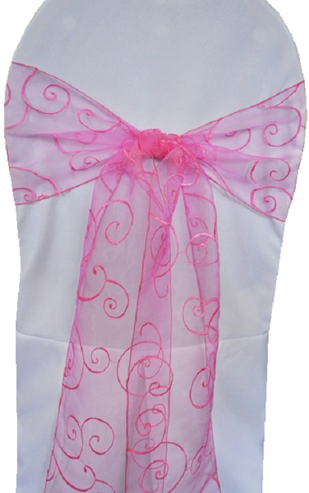 Bubblegum Embroidered Organza Chair Sash