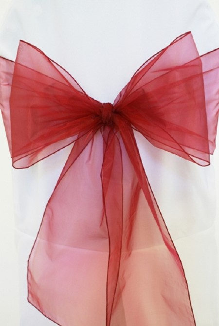 Burgundy Organza Chair Sash