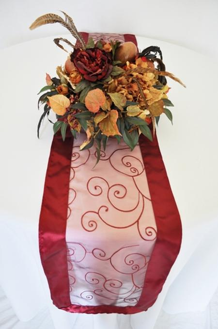 Burgundy Embroidered Organza Runner 12″ x 108″