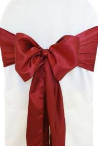 Burgundy Satin Chair Sash