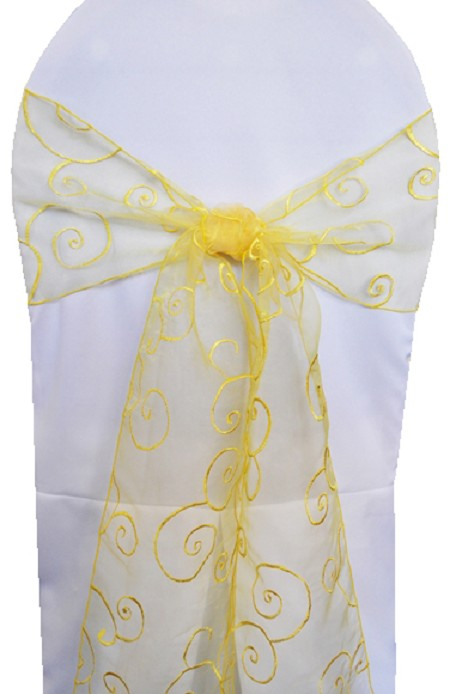 Canary Embroidered Organza Chair Sash