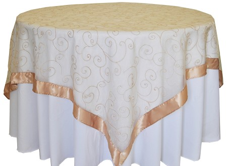 Champagne 85″ x 85″ Embroidered Organza Overlay