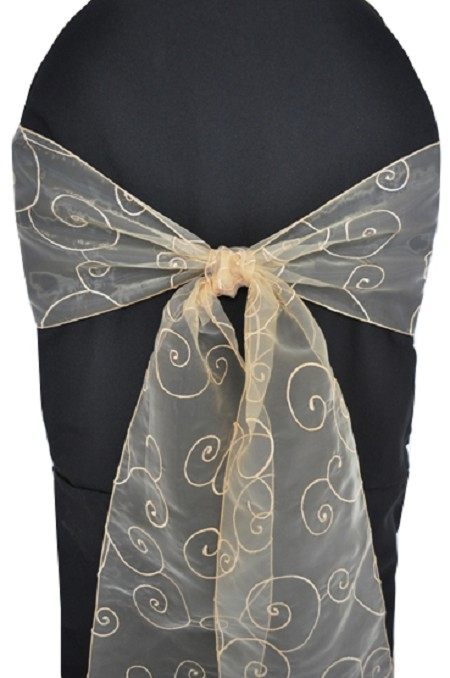 Champagne Embroidered Organza Chair Sash
