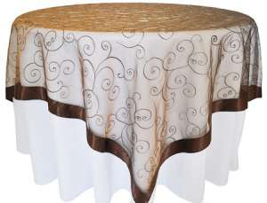 Chocolate 85″ x 85″ Embroidered Organza Overlay
