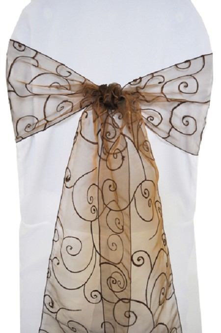Chocolate Embroidered Organza Chair Sash