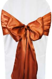 Cognac Satin Chair Sash