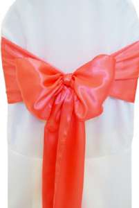 Coral Satin Chair Sash