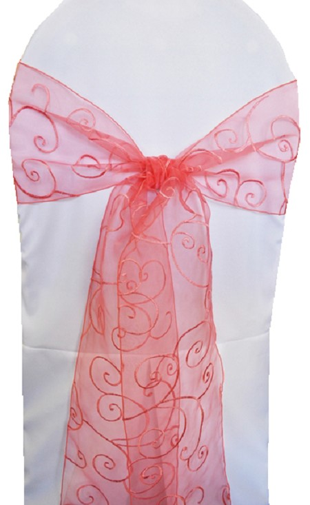 Coral Embroidered Organza Chair Sash